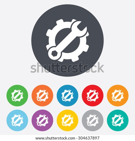 Service icon. Wrench key with cogwheel gear sign. Round colourful 11 buttons. Vector
