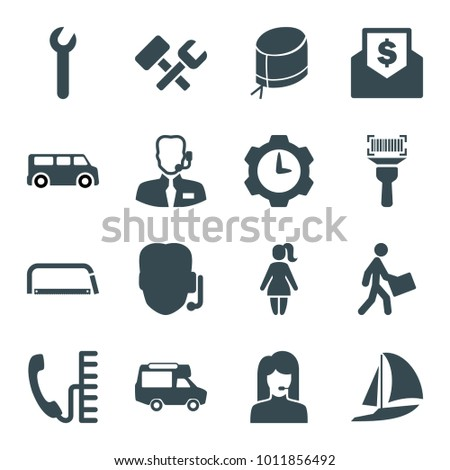 Service icons. set of 16 editable filled service icons such as support, van, courier, nurse hat, help support, envelope with dollar bill, phone, wrench, gear clock, hacksaw