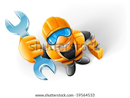 service man worker with key in