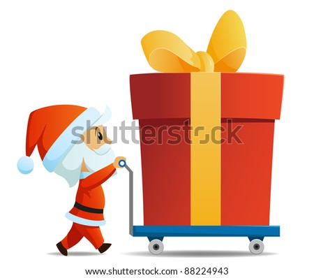 Service men santa with cart and big christmas gift box. Vector illustration.
