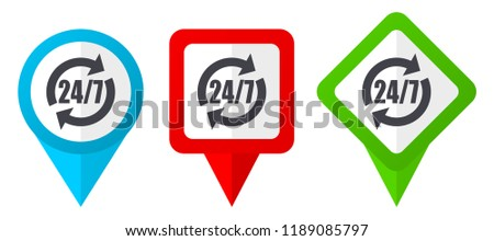 Service red, blue and green vector pointers icons. Set of colorful location markers isolated on white background easy to edit.
