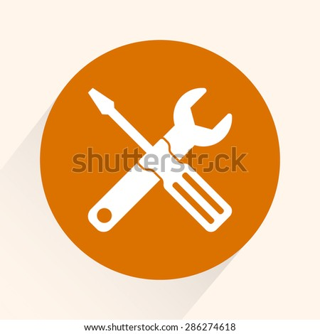 Service symbol. Hammer with wrench sign icon, vector illustration. Flat design style