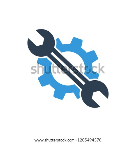 Service tool icon vector. This isolated flat gear symbol