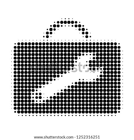Service toolkit halftone dotted icon. Halftone pattern contains round points. Vector illustration of service toolkit icon on a white background.