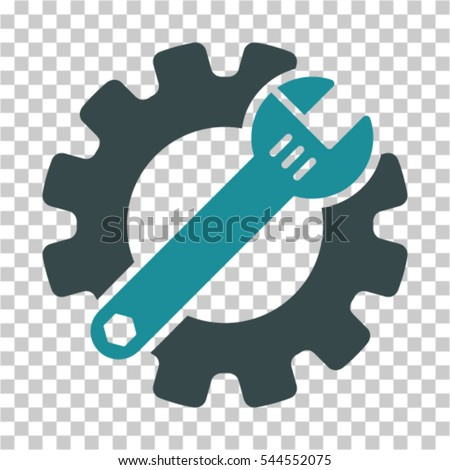 Service Tools icon. Vector pictograph style is a flat bicolor symbol, soft blue colors, chess transparent background. Designed for software and web interface toolbars and menus.