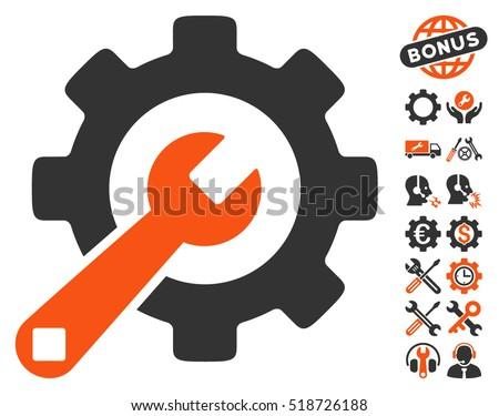 Service Tools icon with bonus configuration icon set. Vector illustration style is flat iconic orange and gray symbols on white background.