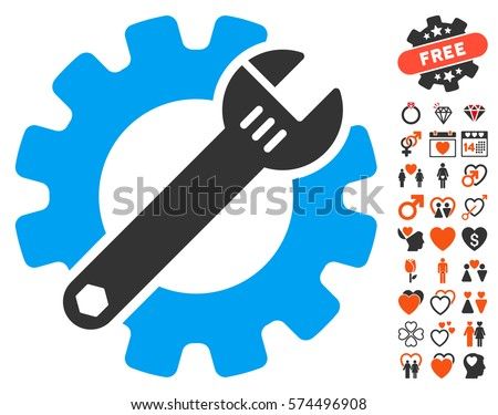 Service Tools icon with bonus romantic pictures. Vector illustration style is flat iconic symbols for web design, app user interfaces. Stock photo ©