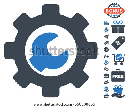 Service Tools icon with free bonus design elements. Vector illustration style is flat iconic symbols, smooth blue colors, white background.