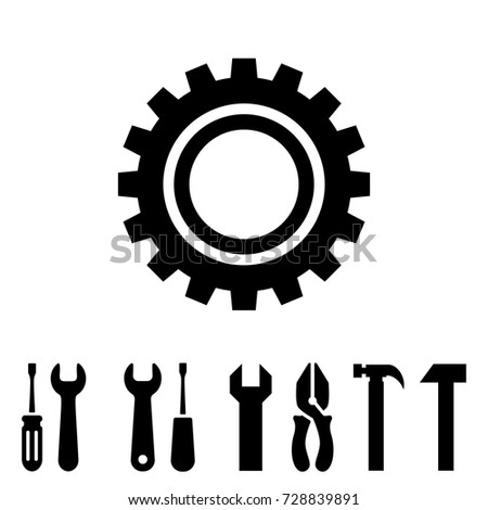 Service tools icons isolated on white background. Options vector illustration. Settings symbol