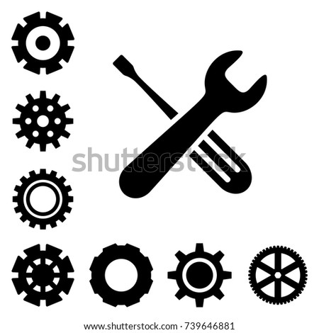 Service tools icons isolated on white background. Options vector illustration. Settings symbol with cogs and spanner