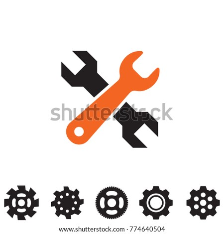 Service tools icons isolated on white background. Options vector illustration. Settings symbol with cogs and wrench