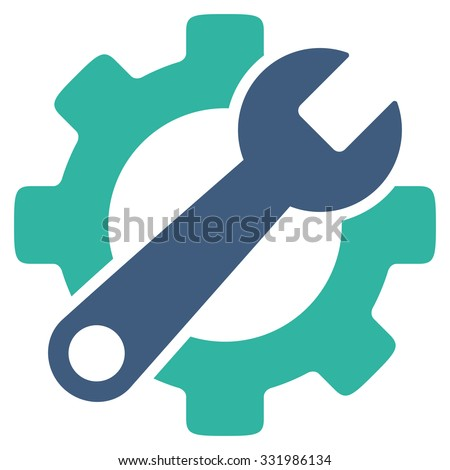 Service Tools vector icon. Style is bicolor flat symbol, cobalt and cyan colors, rounded angles, white background.