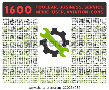 Service vector icon and 1600 other business, service tools, medical care, software toolbar, web interface pictograms. Style is bicolor flat symbols, eco green and gray colors, rounded angles, white