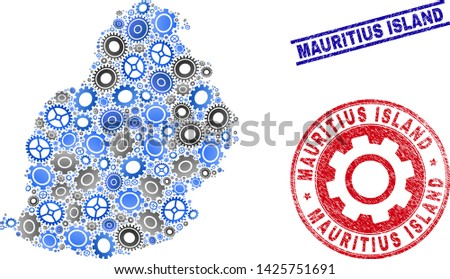 Service vector Mauritius Island map mosaic and seals. Abstract Mauritius Island map is constructed from gradient randomized cogwheels. Engineering geographic scheme in gray and blue colors,