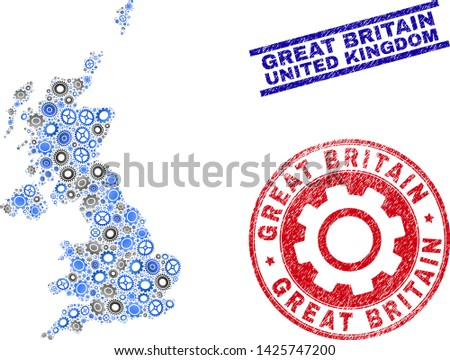 Service vector United Kingdom map mosaic and seals. Abstract United Kingdom map is organized from gradient randomized cogwheels. Engineering territory scheme in gray and blue colors,