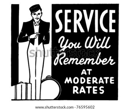 Service You Will Remember - Retro Ad Art Banner