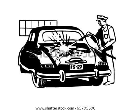 Serviceman Washing Car - Retro Clipart Illustration