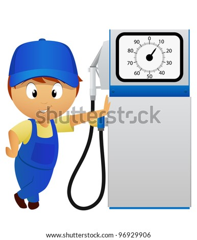 Serviceman with old fuel pump station isolated on white background. Vector illustration.