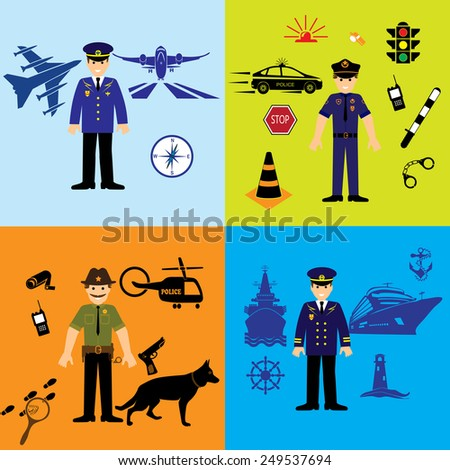 Servicemen airman and  sailor,policeman and sheriff uniform, vector police officers people, profession vector illustration.