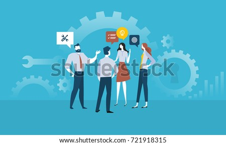 Services. Flat design people concept for business services, project management, product development. Vector illustration concept for web banner, business presentation, advertising material.