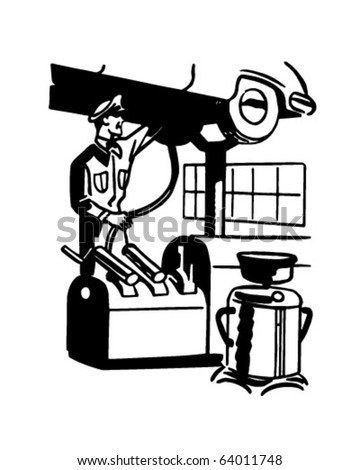 Servicing Car - Retro Clipart Illustration