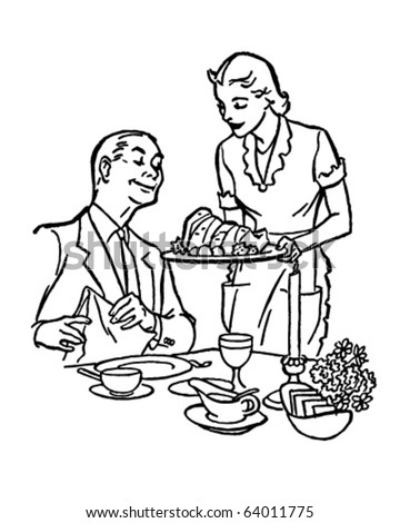 Serving Dinner - Retro Clipart Illustration