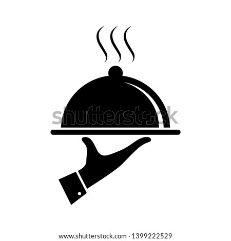 Serving food icon. Sign hand of waiter with serving tray. Waiter serving. Isolated symbol on white background. Vector illustration Stock photo ©
