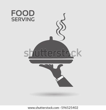 Serving food - with restaurant cloche in hand - grey flat icon ストックフォト ©