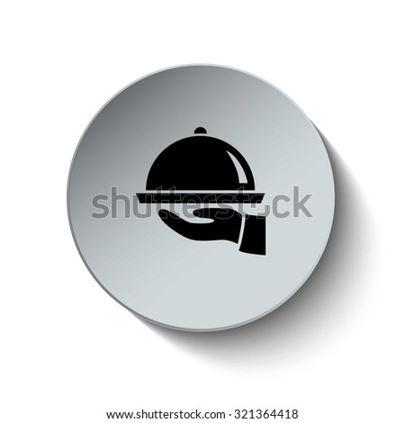 Serving icon. Restaurant sign. Rounded button. Vector Illustration. EPS10