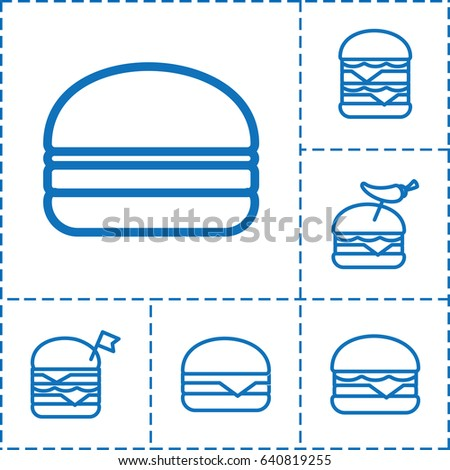 Sesame icon. set of 6 sesame outline icons such as double burger with flag, burger with pepper