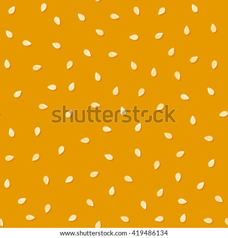 Sesame seeds on fresh yummy bread bun, seamless pattern. Repeating vector background.