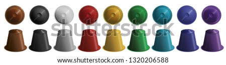 set, a collection of colorful coffee capsules on a white background. Brown, black, white, red, yellow, green, blue, purple coffee capsules. Vector illustration Сток-фото ©