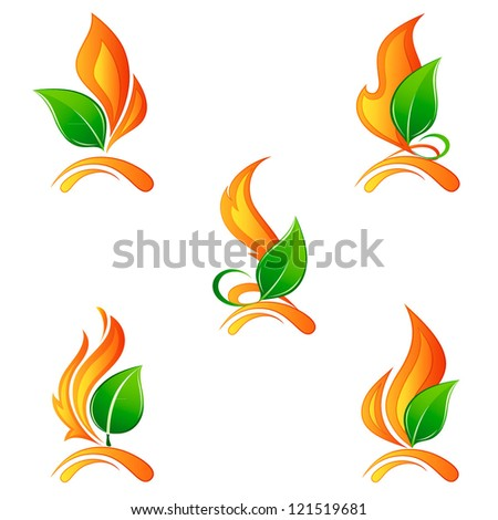 Set a flame of fire with leaves. Elements for design. Vector illustration.