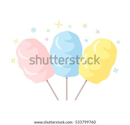 set a traditional cotton candy. an icon in a flat style isolation on a white background. easy to use