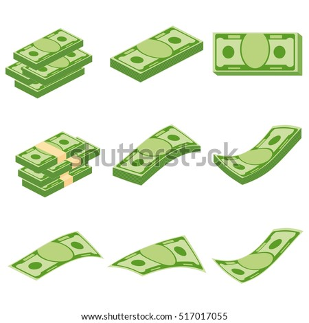 Set a various kind of money. Packing in bundles of bank notes, bills fly. Flat vector cartoon money illustration. Objects isolated on a white background.