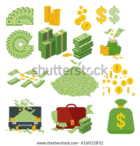 Set a various kind of money. Packing in bundles of bank notes, bills fly, gold coins. Flat vector cartoon money illustration. Objects isolated on a white background.
