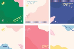 Set abstrac cute feed instagram background. modern art Scandinavian design style. Chic pastel background. Hand drawn Abstract  Organic shapes backround for instagram.