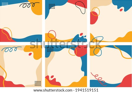 Set abstrac cute feed social media background. modern art Scandinavian design style. Chic pastel background. Hand drawn Abstract Organic shapes backround for social media. Social Media Post.
