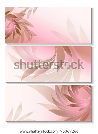 set - abstract background with pink petal - stock vector