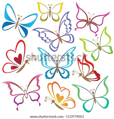 Set abstract butterflies, coloured contour silhouettes on white background. Vector