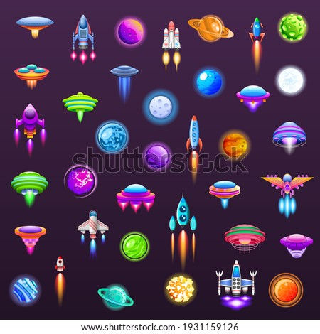 Set Abstract Collection Unidentified Flying Object Alien Ufo Planets SpaceShip Logo Vector Icon Symbol