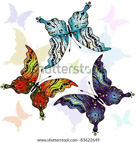 Set abstract colorful butterflies on white (vector)
