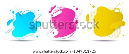 Set abstract colorful liquid geometric shape. fluid gradient design for banner, card, brochure. Isolated waves. Vector illustration