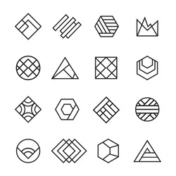 Set Abstract geometric vector logos. Thin line. Best for identity and logotypes. Simple shape.