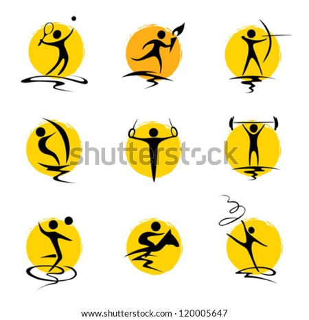 Set abstract illustration - summer sports