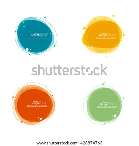 Set Abstract round banner with lines and particles and molecules. TechnoTex box.