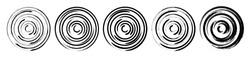 Set abstract spiral circle geometric shape. Grunge swirl concentric round background. Vortex pattern. Flat brush line design element. Vector illustration.