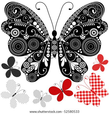 Set abstract vintage butterflies for design on white (vector) - stock vector