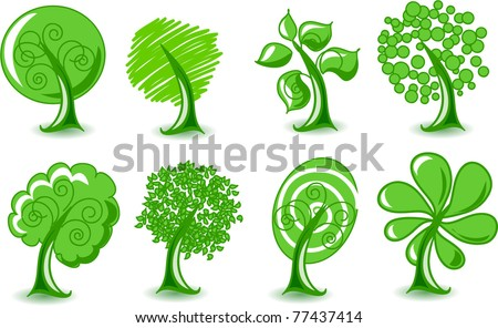 Set abstracts vector trees - stock vector