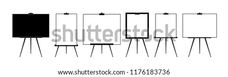 Set Advertising stand or flip chart or blank artist easel isolated on white background. Presentation blank white board for conference. Vector illustration